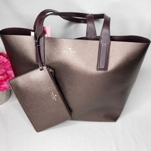 kate spade arch reversible tote bag metallic pecan